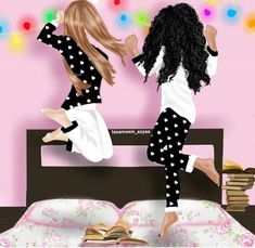 Discovered by ~Ä F Ï F Ä ~. Find images and videos about girly, friendship and cartoonish on We Heart It - the app to get lost in what you love. Girly M, Best Friend Drawings, Girly Drawings, Bff Pics, Best Friend Fotos, Sisters Drawing, Lovely Girl Image, Cute Girl Drawing, Black Girl Art