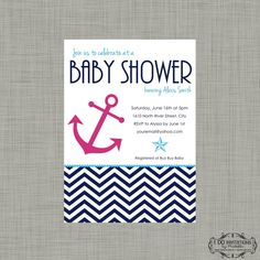 nautical baby girl shower invitations - Google Search