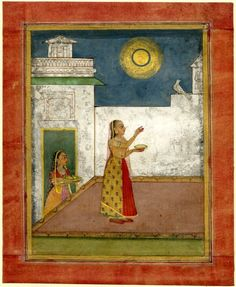 Woman feeding a bird in the moonlight, Rajasthan school.