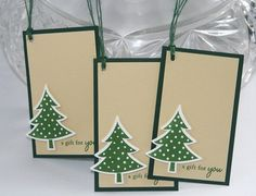 Green Tree Christmas Gift Tag Hand Made Set of Three | Laurascrafts - Paper/Books on ArtFire