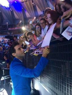 Mika with fans at X Factor 8