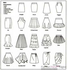 Different skirt names
