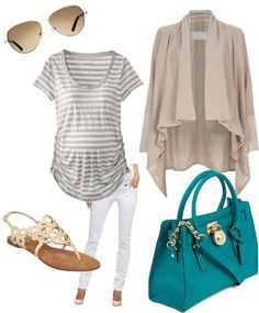 """""""Weekend I"""" by pregnantchicken on Polyvore. But I don't like the waterfall cardigan"""