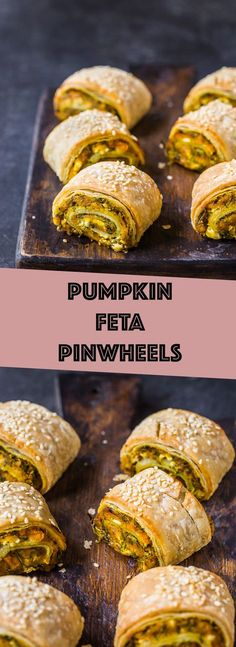 Roasted pumpkin blended with rocket and feta wrapped up in golden puff pastry! Savory Snacks, Healthy Snacks, Savoury Finger Food, Vegetarian Recipes, Cooking Recipes, Healthy Recipes, Tapas, Roast Pumpkin, Spinach And Feta