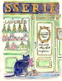 Watercolor painting of Laduree Storefront by Carol Gillott of Paris Breakfast Art And Illustration, Illustrations, Watercolor Illustration, Watercolor Portraits, Watercolor Paintings, Laduree Paris, Little Paris, Graffiti Artwork, I Love Paris