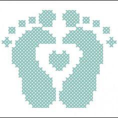 baby feet cross stitch easily convert to pc Cross Stitch Cards, Simple Cross Stitch, Cross Stitching, Cross Stitch Embroidery, Embroidery Patterns, Hand Embroidery, Baby Cross Stitch Patterns, Cross Stitch Baby, Cross Stitch Designs