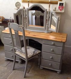 Shabby-Chic-Vintage-Solid-Pine-Dressing-Table-Chest-Of-Drawers-Desk-Chair - Site Title Shabby Chic Bedroom Furniture, Shabby Chic Bedrooms, Shabby Chic Decor, Pine Furniture, Distressed Furniture, Furniture Makeover, Furniture Ideas, Desk Makeover, French Furniture