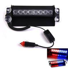 New 1pcs 8 LED Strobe Light 8W 12V Car Flash Light Emergency Warning Light  High Power