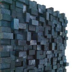 Black wood block wall sculpture