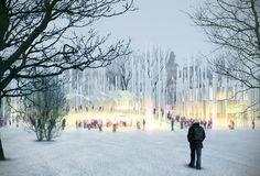 ARCVS Takes Second Place in Liget Budapest House of Music Competition,Exterior View- Winter. Image © ARCVS