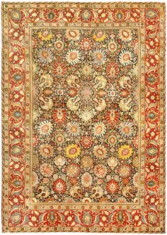 A Persian Tabriz rug (size adjusted) - by Doris Leslie Blau. An early century size-adjusted antique Persian Tabriz rug in which the dark blue field is contrasted with a bold Shah Abbas . Persian Carpet, Persian Rug, Persian Decor, Carpets For Kids, Tabriz Rug, Types Of Rugs, Cheap Carpet Runners, Antique Decor, Cool Rugs