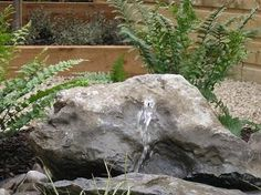 Make a splashing impact with a modest garden water feature and create a unique soothing atmosphere with great calming effects. Garden Water, Water Features In The Garden, Garden Landscaping, Landscapes, Design Ideas, Rock, Plants, Blue Prints, Front Yard Landscaping