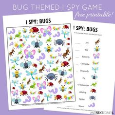Free bug themed I Spy game for kids from And Next Comes L