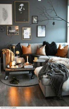 Wall Texture Ideas Living Room Color Schemes Ideas For 2019 Grey And Orange Living Room, Living Room Decor Orange, Boho Living Room, Living Room Grey, Living Room Sofa, Cozy Living, Small Living, Modern Living, Bohemian Living