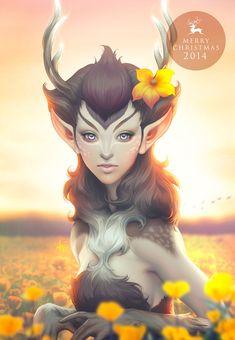 Merry Christmas! / Deer princess 2014 by Artgerm