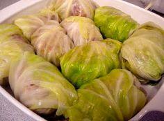Cabbage rolls (can be frozen) stuffed with ground beef and brown rice.
