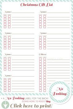 Christmas Gift List: Keep track of what you've bought yet and what you haven't.