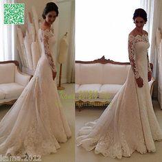 Elegant Lace Wedding Dresses White Ivory Off The Shoulder Garden Bride Gown 2015