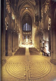 """Meditation maze, Chartres Cathedral. """"BELIEVE, OR BURN, IN, HELL! - CATHOLICISM"""""""
