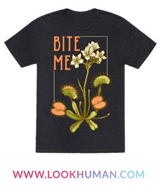"This hipster venus fly trap shirt is great for feminists who take no shirt and love them some botanical illustrations of carnivorous plants like this ""Bite me!"" venus fly trap print. This feminist shirt is perfect for fans of hipster shirts, floral shirts, feminist t shirts and botanical art."