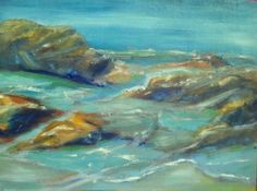 """Sometimes it's more about the relationship between things than it is about the things themselves. Tarpits Beach, Carpinteria, oil on linen on board, 8x10""""."""