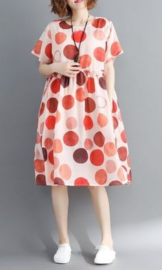 Women loose fit dress polka dots tunic short sleeve large size casual summer Women's Fashion Dresses, Skirt Fashion, Hijab Fashion, Casual Outfits, Dress Casual, Types Of Dresses, Outerwear Women, Casual Looks, Beautiful Outfits