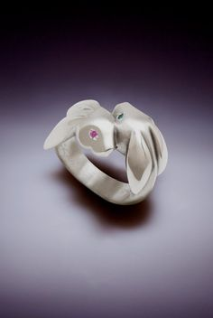 bunny love ring sterling with blue and pink by Michaeltatom