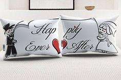 """Couple's Pillowcase Set - Soft White Cotton - """"Happily Ev..."""