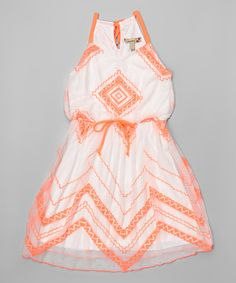 Another great find on #zulily! Neon Coral & Ivory Geometric Embroidered Sleeveless Dress - Tween #zulilyfinds