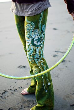 Dancing Green Handmade Batik Yoga Pants - Custom Made – Batikwalla by Victoria Dresdner