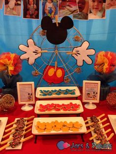 Fun treats at a Mickey Mouse birthday party! See more party planning ideas at CatchMyParty.com!