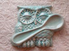 Owl Spoon Rest Aqua Ceramic  Kitchen Home by Angelheartdesigns, $20.00