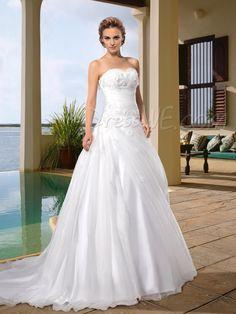 $181.49 Dresswe.comサプライ品ファッショナブルなコートAラインウェディングドレス スウィートハート アップリケ