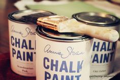 Chalk Paint? It's supposed to eliminate the need to do ANY PREP WORK for furniture painting, no sanding, stripping, nothing. -  Guess it would work with the make-your-own chalk paint recipe? Will try.