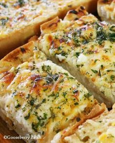 Recipe for Bubbly Cheese Garlic Bread - We love all varieties of bread. Add a little garlic, some butter, a bunch of cheese, and throw it in the oven…and we're even happier!