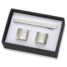 New Scale 3 Pieces Gift Set Grid Brass Cufflinks 2 Tone Silver Cuff Links with Matching Tie Bar in Black Gift Box