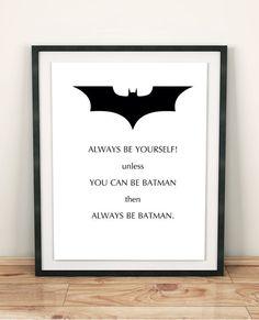 Printable nursery wall art Batman birthday Superhero poster