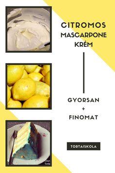 Citromos mascarpone krém, tortához Izu, Cake Tutorial, Frosting Recipes, Cantaloupe, Tart, Sweets, Cheese, Cookies, Cream