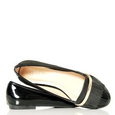 Balerinki Czarne Lakierowane Frędzle - Złoty Pasek - www.BUU.pl #baleriny #blackshoes #modadamska