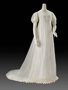 Embroidered Cotton Evening Dress with Ribbon Trim, ca. 1805 Worn by Sarah Bowdoin, wife of Hon. James Bowdoin, U.S. Minister to Spain and Associate Minister to France
