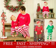 5fadac6a07 Monogrammed Christmas pajamas personalized for the whole family including  newborn Christmas Gowns. Get ready for
