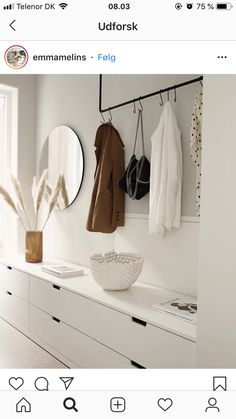 Combination of flat cupboards & clothes rail - Combination of flat cupboards & clothes rail Informations About Kombination flache Schränke & Kleid - White Hallway, Decor, Blue Bedroom Decor, Ikea Shoe Cabinet, Clothes Rail, Bedroom Decor, House Interior, Apartment Decor, Hallway Decorating