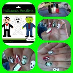 halloween monsters nail designs