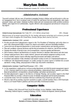 Sample Resumes For Administrative Assistant Positions  resume