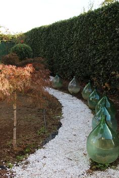 demijohns; cut off the bottoms, annd a clear plate and candle to line a walkway and voila!