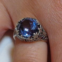 Alexandrite Ring, Russian Alexandrite, Color Change Stone, Victorian Style Ring, Vintage Setting, Sterlilng Silver Ring on Etsy, $119.00