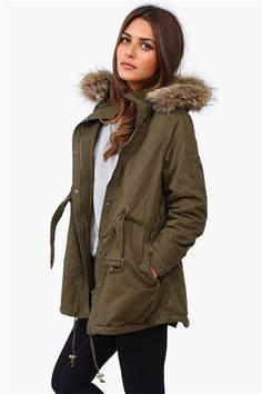 Bleeker Fur Hooded Jacket - Olive Get 8% cash back http://www.studentrate.com/itp/get-itp-student-deals/Necessary-Clothing-Student-Discount--/0