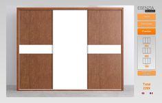 Amplio armario tres puertas correderas combinado en color marrón y blanco