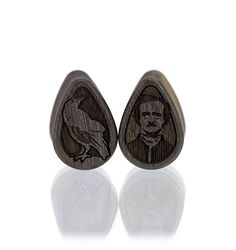 Blue Mahoe Nevermore Edgar Allan Poe Raven Teardrop Plugs Halloween Wood Plugs Gauges from Omerica Organic. Use Rep Code SWEETLE at checkout for 20% off your first purchase!