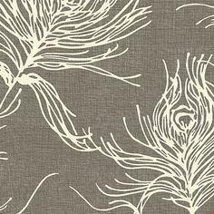 Dark Gray Feather Print Cotton Fabric - modern - Upholstery Fabric - Loom Decor
